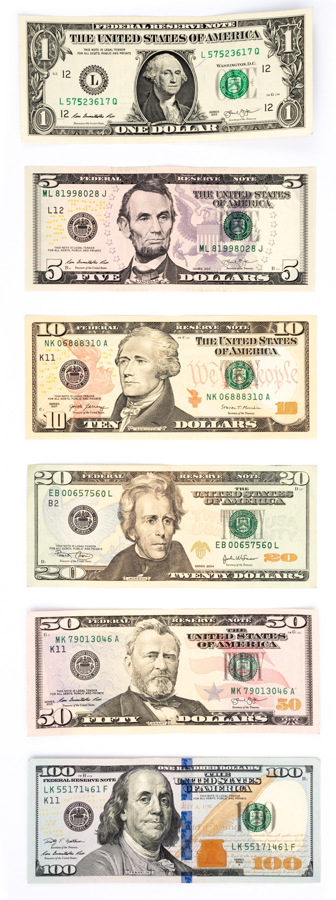 US Currency - US Dollars Front Facing