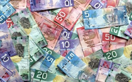 Canadian Dollars CAD banknotes and coins