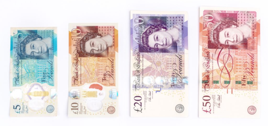 UK Pound or pound sterling banknotes consist of £5, £10, £20 and £50