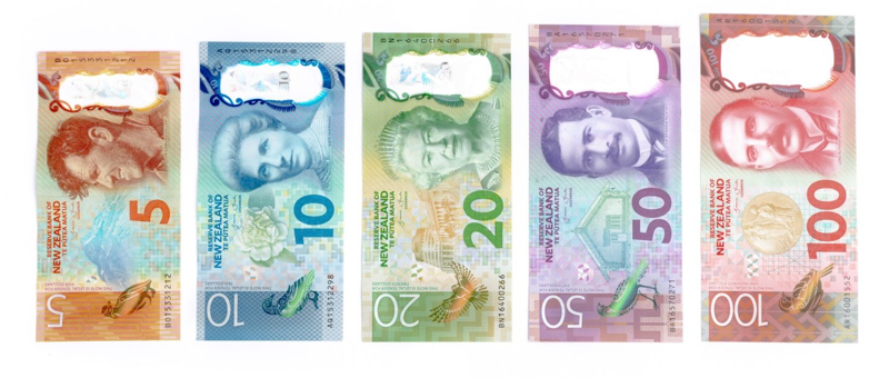 New Zealand dollars banknotes consist of $5, $10, $20, $50 and $100