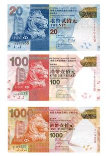 Hong Kong dollar banknotes consist of $10, $20, $50, $100, $150 and $1,000.