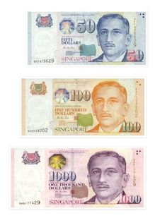 Singapore dollar banknotes consist of $2, $5, $10, $50, $100, $1,000 and $10,000.