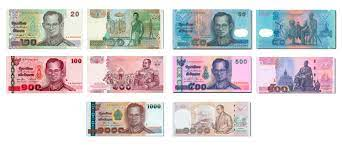 Thai Baht banknotes consist of ฿20, ฿50, ฿100, ฿500, ฿1000